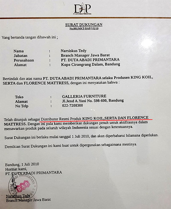 Toko Distributor Springbed Serta Bandung